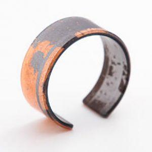 Copper Leaf & Resin Narrow Cuff