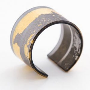 Gold Leaf & Resin Wide Cuff