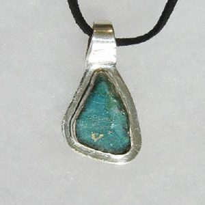 Roman Glass & Stirling Silver Pendant