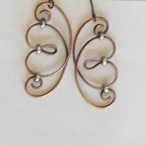 Copper Silver Scroll Earrings