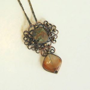 Forest Jasper Copper Scroll Necklace