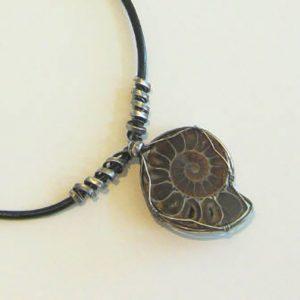 Medium Ammonite Silver & Leather Necklace