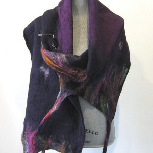 Purple Silk Wool Scarf
