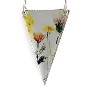 Bouquet Acrylic Pendant With Silver Chain