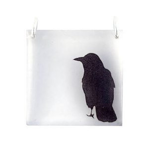 Square Crow Acrylic Pendant With Silver Chain
