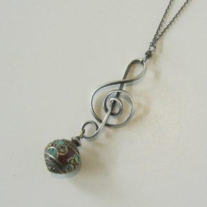 Treble Clef Bead Silver Necklace