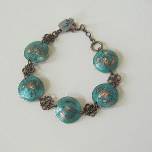 1967 Green Domed Penny Bracelet