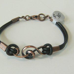 Copper Leather Treble Clef Bracelet