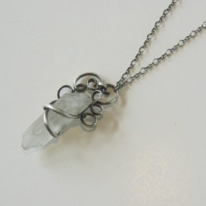 Silver Quartz Crystal Necklace
