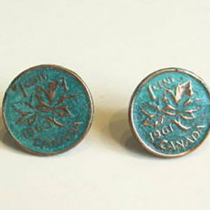 1961 Green Penny Earrings