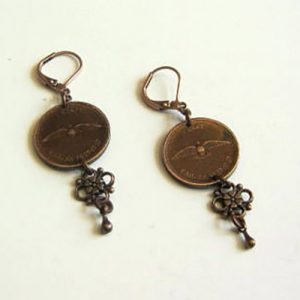1967 Copper Penny Detail Earrings