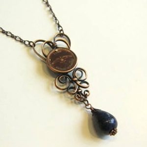 1967 Penny Lapis Stone Copper Necklace