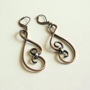 Copper Silver Swirl Earrings