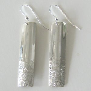 Vintage Silver Rectangle 3 Earrings