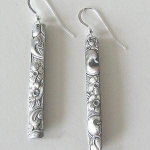 Vintage Silver Rectangle 4 Earrings