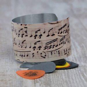 Antique Sheet Music Aluminum Cuff