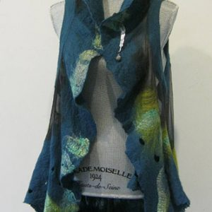 Blue Silk & Wool Vest