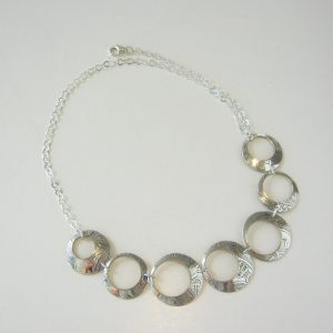 Vintage Silver Circle Plate Necklace