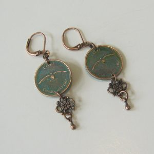 1967 Green Penny Earrings
