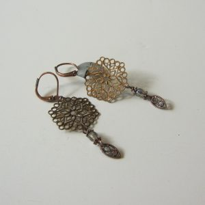 Short Copper Filigree Earrings