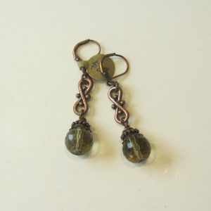 Smoky Quartz & Copper Earrings