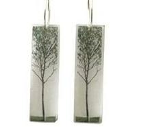 Tall Green Tree Acrylic Earrings