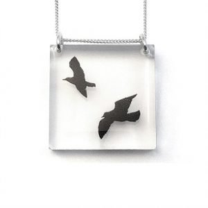Square Birds Acrylic Pendant with Silver Chain
