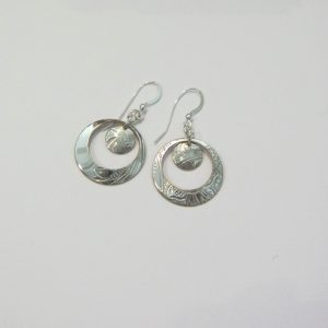 Vintage Silver Circle 5 Earrings