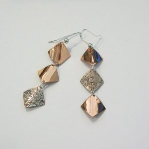 Vintage Silver and Copper Drop Earrings