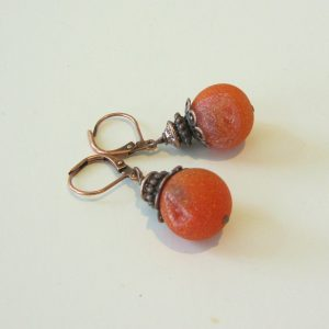 Fire Agate Geode Copper Earrings