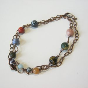 Multistone Bobble Copper Necklace