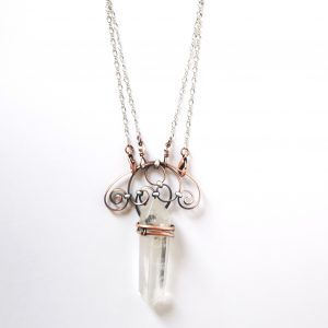 Quartz Crystal with Copper & Steel Necklace