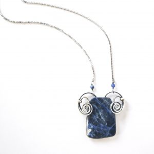 Sodalite Silver and Steel Necklace