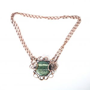 Striped Green Jasper Twisted Copper Necklace