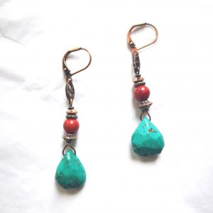 Turquoise and Red Coral Copper Earrings