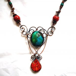 Turquoise and Red Coral Copper Necklace