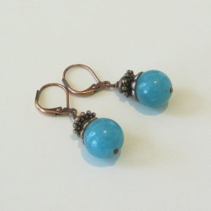Blue Agate Copper Earrings