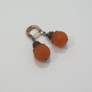 Fire Agate Geode Copper Earrings