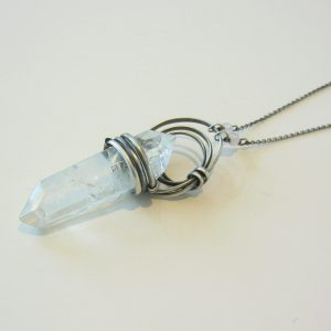 Large Quartz and Silver Necklace