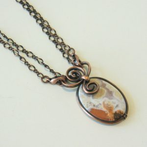 Oval Agate Copper Necklace