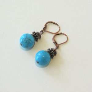 Resin Turquoise Copper Earrings