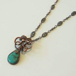 Turquoise Drop Copper Necklace