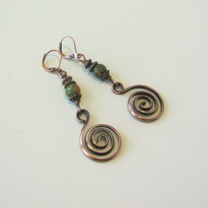 Unikite Copper Spiral Earrings