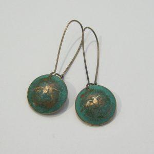 1967 Green Domed Penny Earrings