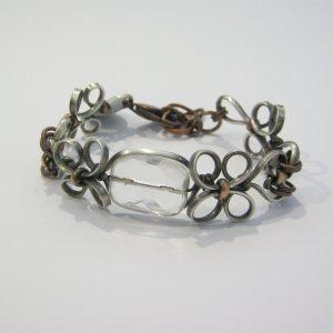 Crystal Quartz Silver Copper Bracelet