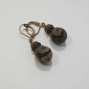 Pattern Agate Copper Earrings