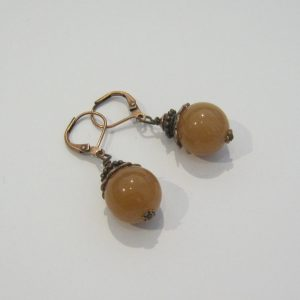 Peach Agate Copper Earrings