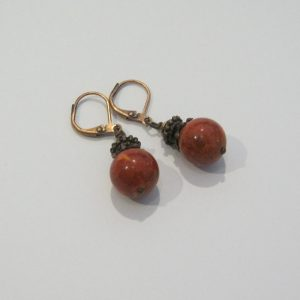 Red Coral Copper Earrings