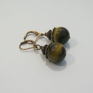 Tiger Eye Copper Earrings