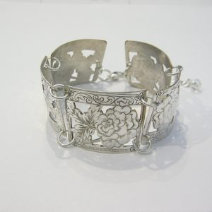 Vintage Silver Peony Bracelet